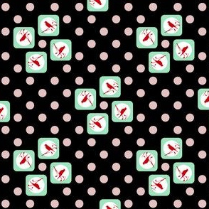 Polka Dot Birds- Black, Cream, Cyan, Red