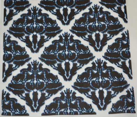 Cat Damask with blue outlines
