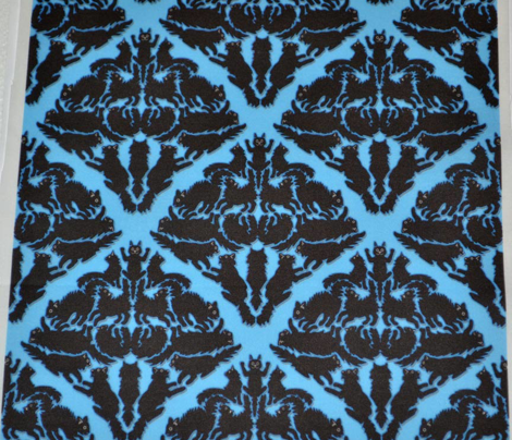 Cat Damask Blue background