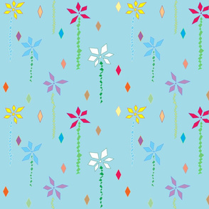 Abstract Flowers in Blue