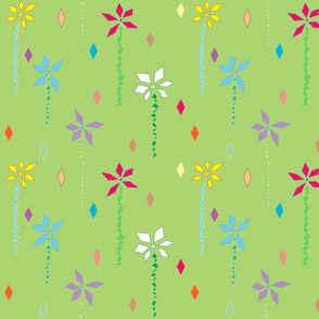 Abstract Flowers in Green