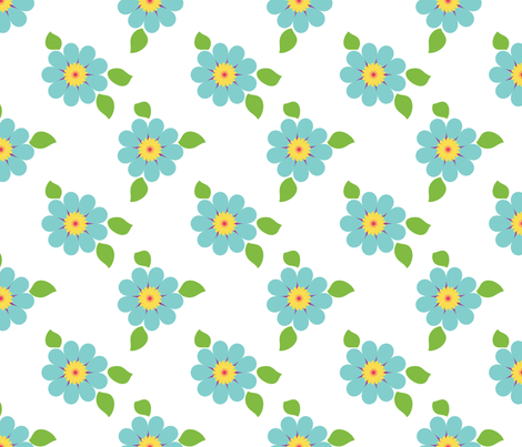 Large Blue Flowers Print fabric by hang_a_ribbon_on_the_moon on Spoonflower - custom fabric
