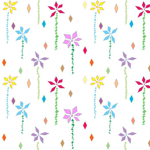 Abstract Flowers in White