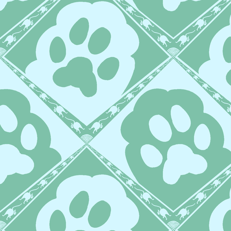 Cats_Paws_Aqua fabric by house_of_heasman on Spoonflower - custom fabric