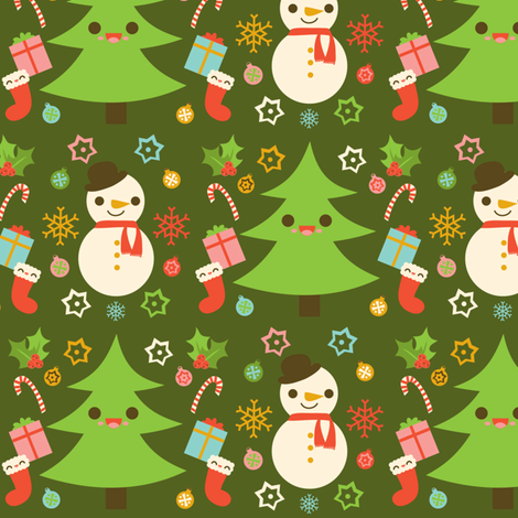 Holiday Pattern Green fabric by boredinc on Spoonflower - custom fabric