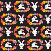 Bunnies & Flowers Black