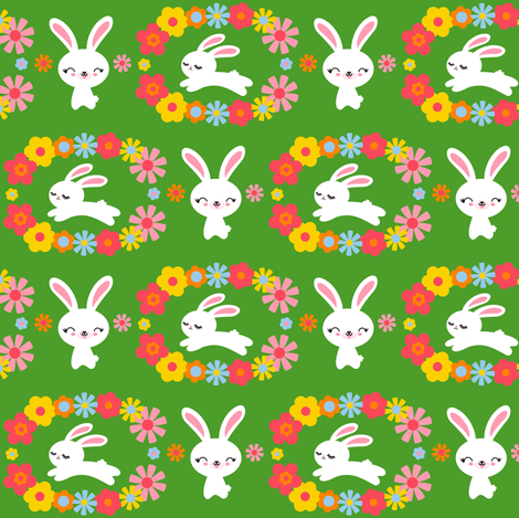 Bunnies & Flowers Green fabric by boredinc on Spoonflower - custom fabric