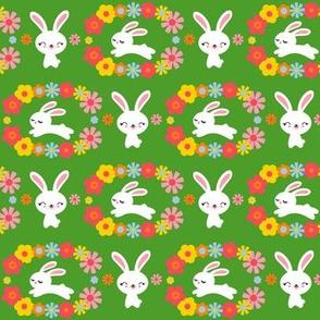 Bunnies & Flowers Green