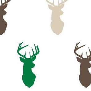 multi buck head // green,tan, and dark brown