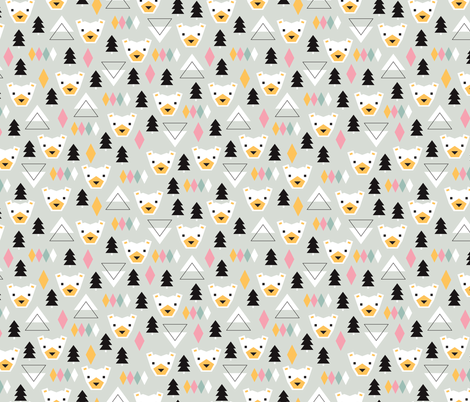 Geometric winter polar bears christmas kids illustration for Knit fabric childrens prints