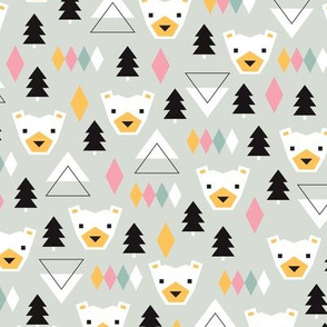 Geometric winter polar bears christmas kids illustration print