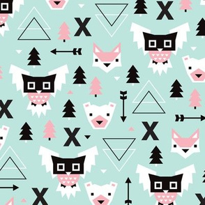Geometric winter wonderland pastel blue owls christmas kids pattern
