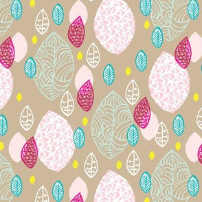 Vintage raw organic leaves and colorful garden illustration pattern