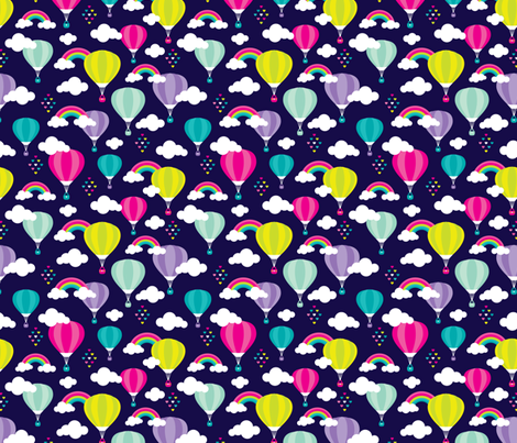 Cute colorful hot air balloon retro clouds and rainbow illustration pattern fabric by littlesmilemakers on Spoonflower - custom fabric