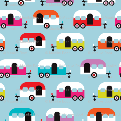 Cute happy camper illustration caravan retro illustration pattern