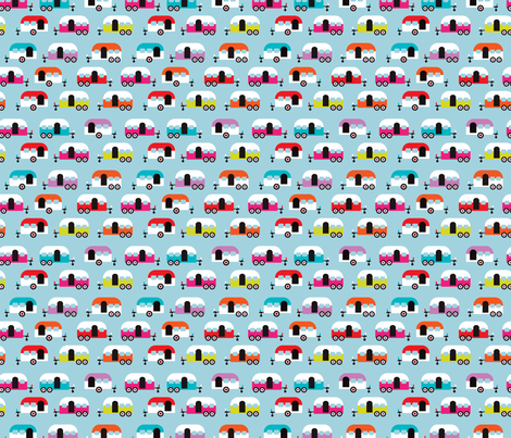 Cute happy camper illustration caravan retro illustration pattern fabric by littlesmilemakers on Spoonflower - custom fabric