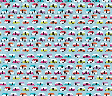 Cute happy camper illustration caravan retro illustration pattern fabric by littlesmilemakers on Spoonflower - custom fabric