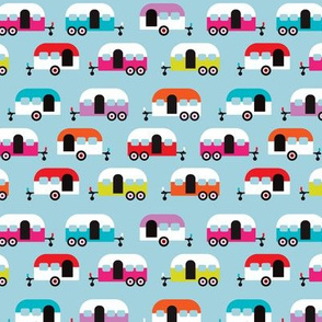 Cute happy camper illustration caravan retro illustration pattern