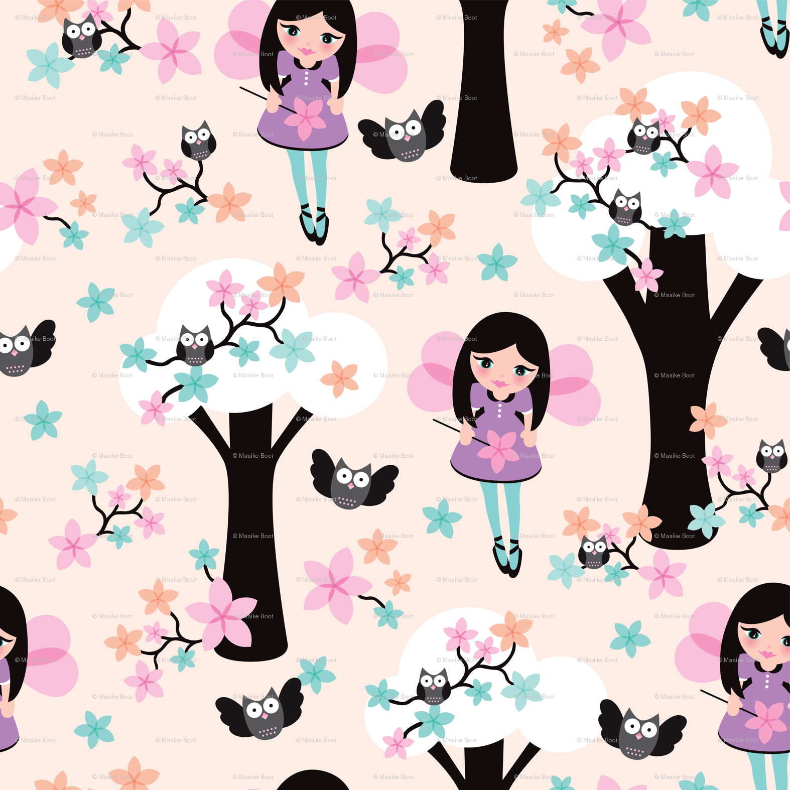 Cute fairy princess girls illustration pink owl tree pattern wallpaper - littlesmilemakers - Spoonflower