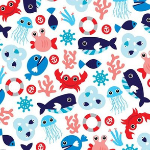 Colorful kids jelly fish whale and sea life illustration pattern
