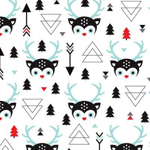Snow white winter wonderland deer geometric christmas tree illustration pattern