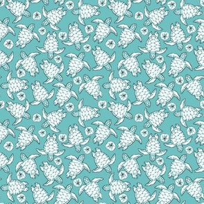 Ditzy Baby Sea Turtles on Teal Blue