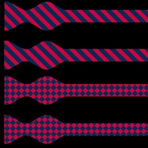 School Colors Bow Ties Red and Navy