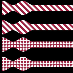 School Colors Bow Ties Maroon and White