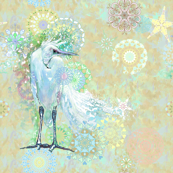 White Heron - multicolor