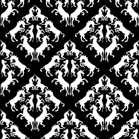 Unicorn Damask fabric by eclectic_house on Spoonflower - custom fabric
