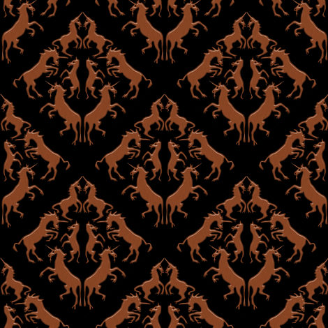Unicorn Damask, Wood fabric by eclectic_house on Spoonflower - custom fabric