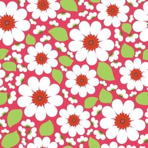 White/Red Flower Print