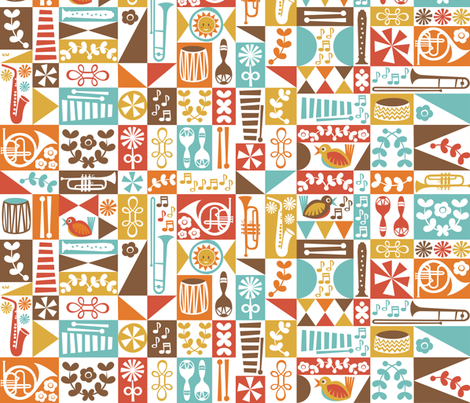 Mid-Century Marching Music fabric by studio_amelie on Spoonflower - custom fabric