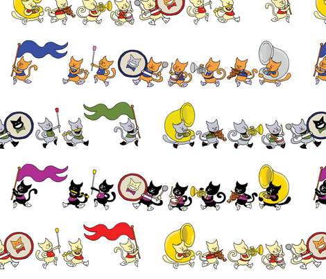 Cats in a Marching Band wallpaper - margreetdeheer - Spoonflower