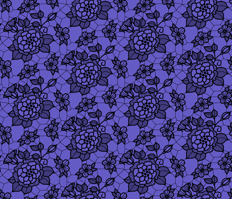 black_lace_flower_2_on_purple fabric by victorialasher on Spoonflower - custom fabric