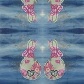 Blue Rose Bunny Mirror