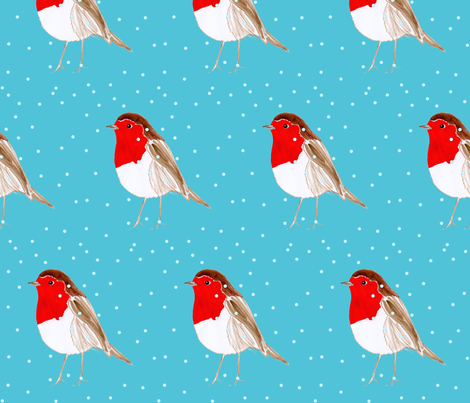 Christmas Robin Blue fabric by de-ann_black on Spoonflower - custom fabric