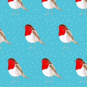 Christmas Robin Blue