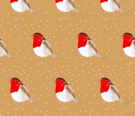 Christmas Robin Caramel fabric by de-ann_black on Spoonflower - custom fabric