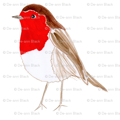 Christmas Robin on White