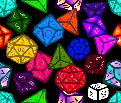 Gamer Dice (Small scale print) fabric by art_rat on Spoonflower - custom fabric