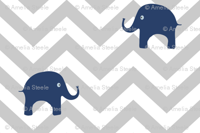 Baby Elephants in Navy and Gray Chevron