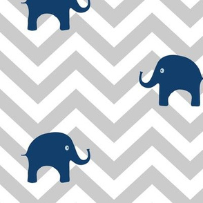 Baby Elephants in Navy and Gray Chevron