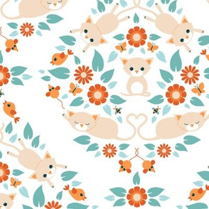 Cat damask on white