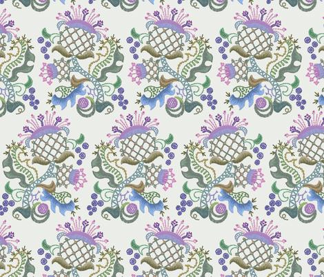 Crewel Thistle Alternate fabric by chantal_pare on Spoonflower - custom fabric