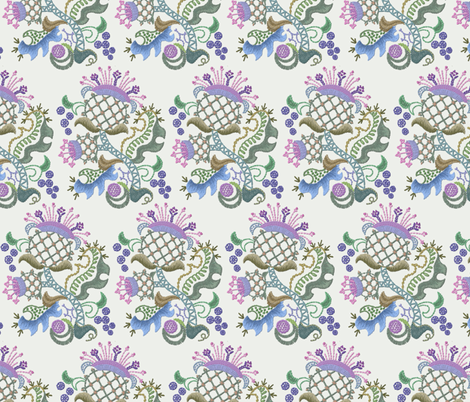 Crewel Thistle Rows fabric by chantal_pare on Spoonflower - custom fabric