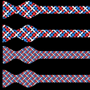 Patriotic Red, White, and Blue Basket Weave Bow Ties