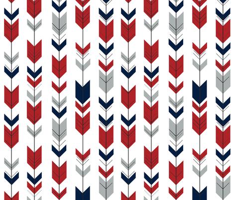 Fletching Arrows // Grey/Red/Navy fabric by littlearrowdesign on Spoonflower - custom fabric