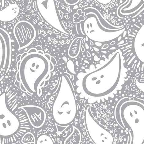Pale-sley ghosts fabric by tamara_arcilla on Spoonflower - custom fabric