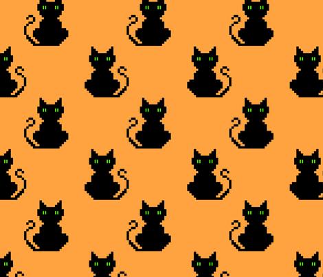 black cats (8 bit) fabric by castl3t0n on Spoonflower - custom fabric